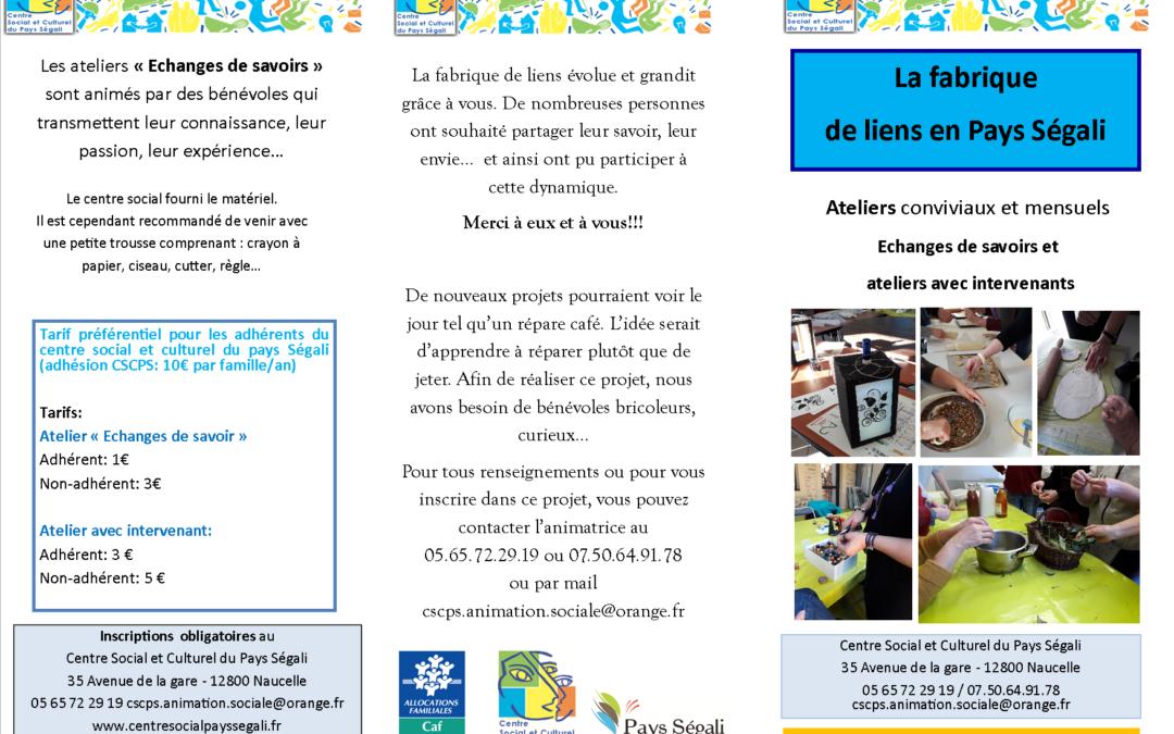 Programme «Atelier la fabrique de liens» 2eme trimestre 2019