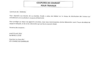 Enedis vous informe d'une coupure d'électricité programmée le 26/08/2021 sur la commune de  MANHAC