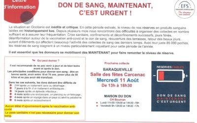 Don de sang  appel urgent Baraqueville